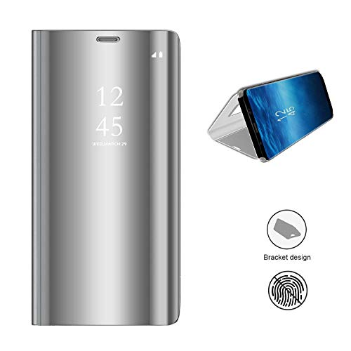 KISCO für Samsung Galaxy A8s Spiegel Hülle,Spiegel Ledertasche Handyhülle Spiegel Schutzhülle Protective Flip Schutzhülle Cover mit Standfunktion für Samsung Galaxy A8s-Silber