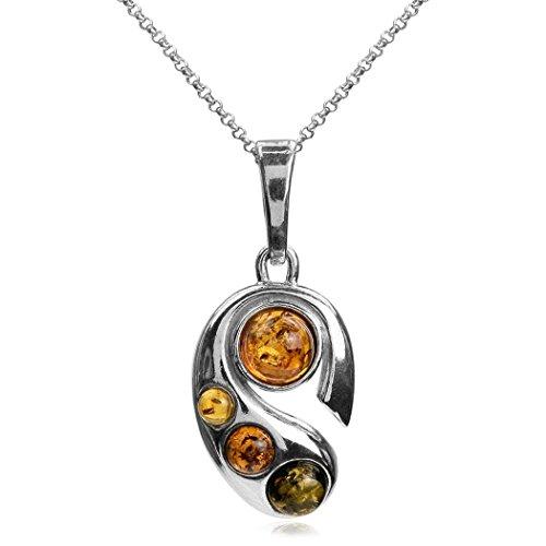 Noda Ciondolo rotondo argento Sterling e ambra con catenina lunghezza 46