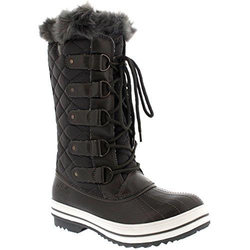 Damen Schnee Stiefel Nylon Tall Wasserdicht Gefüttert Regen Stiefel - Grau - 38 - CD0029 (Regen Stiefel Wasserdicht)