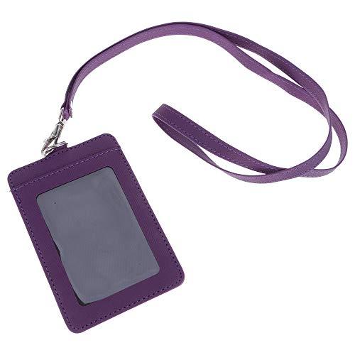 ID Kartenhalter Kunstleder Ausweishülle mit Band Namensschild Abzeichenhalter mit abnehmbarem Halsband Kartenhülle für 2 Karten Ausweis Studentenausweise Dienstausweise Visitenkarten 11*7.1CM (Lila)