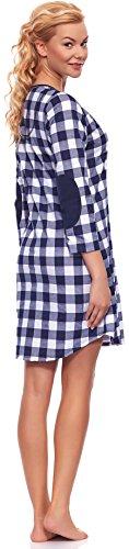 Italian Fashion IF Damen Stillnachthemd M003 Dunkelblau/Weiß