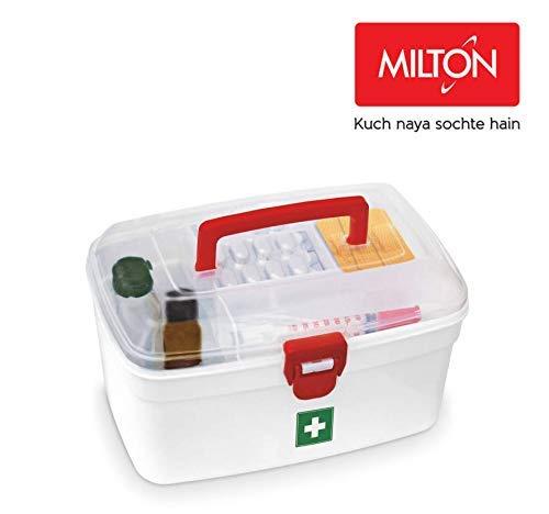 Milton Home Plastic Medical First Aid Kit Emergency Medicine Storage, 23.5 x 15.3 x 14 cm, White