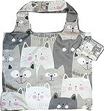 Chilino Katze Faltbare Mehrwegtasche/Umweltfreundlich/Hohe Tragkraft und Fassungsvermögen, 47 x 41 cm