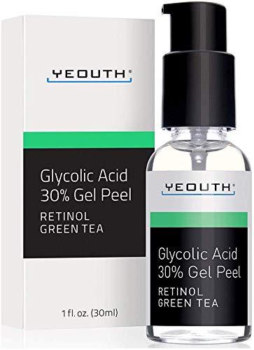 YEOUTH Acido Glicolico 30% Professionale Chimica Facciale con Retinolo, Estratto di Tè Verde.