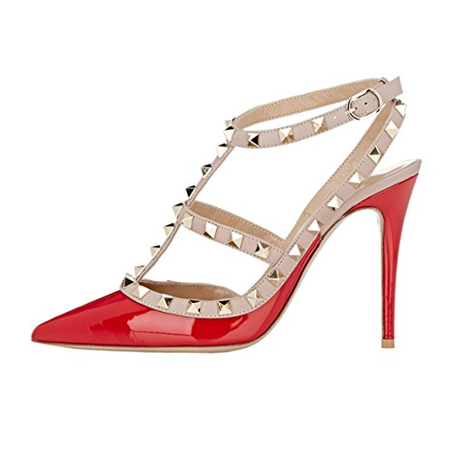 EKS Damen Rot High Heels Sandalen Nieten Rivets Kleid-Partei Pumps Rot 43 EU Patent Slingback High Heel