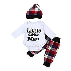Idea Regalo - Askwho 3pcsSet Neonati bambini Baby Boys stampa Abiti Romper Cime Lunghe + Pantaloni + Cappello Set (6-12 mesi)