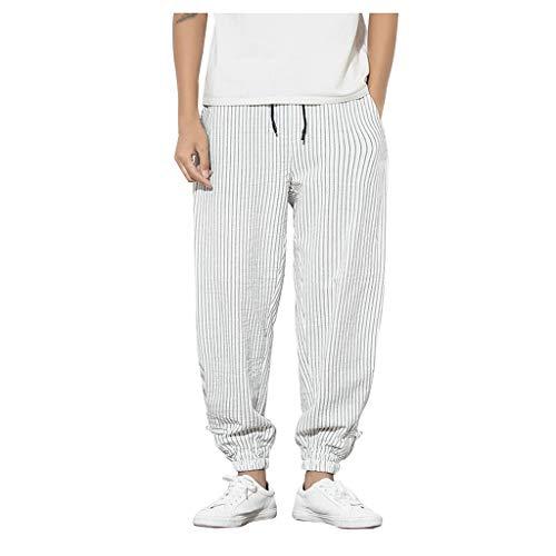 SHE.White Herrenhose Leinen-Hose Freizeit Streifen Trousers Loose Tapered Pants Taktische Funktionale Große Größe Hose mit Kordelzug M-5XL