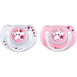 Philips Avent SCF176/24 - Set de 2 chupetes nocturnos que brillan en la oscuridad, de 6 a 18 meses, niña