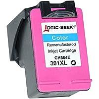Logic-Seek® - Cartucce per HP 301xl nero HC, 20 ml, compatibile con CH563EE, colore nero (02) - a colori con supporto