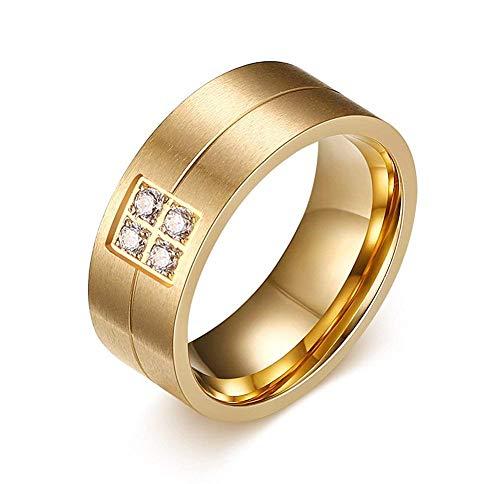 XBMIEN 8mm Frauen der Männer Doppel Ton 4 CZ Zirkone Band Finger Ring für Hochzeit, Verlobung, 3 Farben