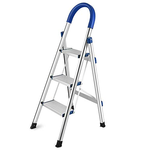 Yuzhonghua Aluminiumleiter Trittleiter tragbare Geräte mit rutschfestem Gummigriff des tragende Haushaltstritthocker 150kg (Size : 3 Step Ladder)