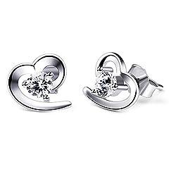 Idea Regalo - B.Catcher orecchini da donna cuore in argento s925 con zircone a perno cuoricini