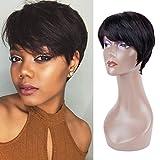 Queentas Pixie Cut Court Perruques De Cheveux Humains Avec Une Partie Gratuite Côté Frange Pour Les Femmes Noires (Noir Naturel # 1B)...