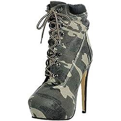 Huyuan2 Botas De Mujer Otoño Invierno, Botas Bajas De Moda para Mujer, Botas con Estampado De Camuflaje, Cómodos Tacones Altos con Cabeza Redonda,39