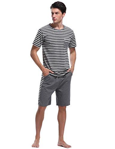 iClosam Pijama Hombre Verano Corto Set,Pijama Manga Cortos Raya,Conjunto de Pijama Camiseta y Pantalones Moda Comodo Ropa de Dormir para Hombre