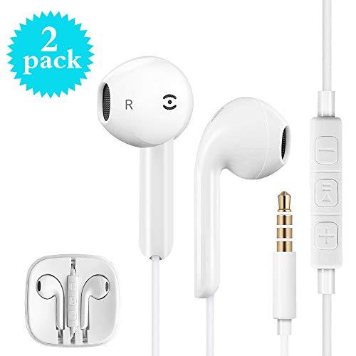 Écouteurs Intra-Auriculaires avec Micro, 【2 Pack】 Nomisty Ecouteurs Filaires Isolant du Bruit Casque Stéréo Compatibles avec All 3.5mm Jacks Smartphones et MP3