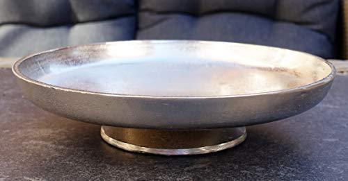 MichaelNoll Dekoteller Schale Servierplatte Aluminium Silber XL 29,5 cm