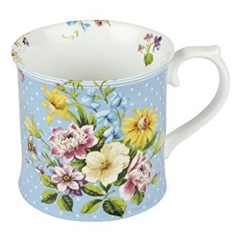 Katie Alice Vintage Indigo Porcelain Floral Mugs, 400 ml