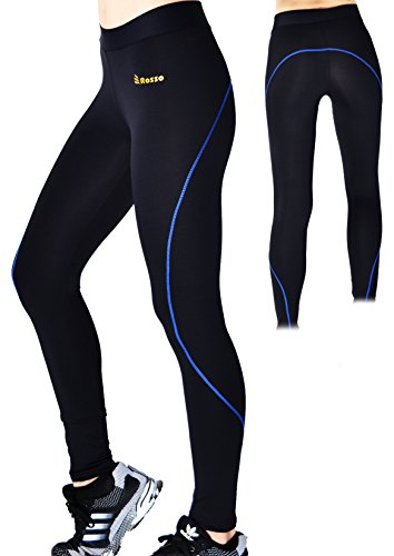 Collant sports lungo per le donne leggings blu rise vita ampia pantaloni sportivi elasticizzati opachi rosso lycra neri yoga pilates running gym running (l)