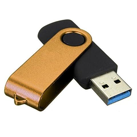 BZLine® Clé USB 3.0 | Stockage de Données | Capacité : 4, 8, 16, 32, 64, 128Go | Clé de Rotation Métallique, Multicouleur (Or, 32 Go)