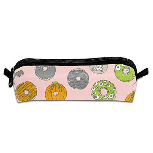 Halloween Donuts Fall Autumn Food Cute Spooky Scar Student Polyester Double Zipper Pen Box Boys Girls Pencil Case Cosmetic Makeup Bag Pouch Stationery Office School Supplies 21 X 5.5 X 5 cm