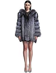Fur Story 151216 Para Mujer Largo Real Piel de Zorro Abrigo piel de zorro de plata 44