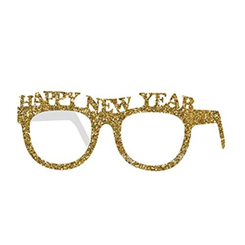 OULII Silvester Party Brille Happy New Year Glitter Brille Neujahr Foto Props Party Zubehör Gold 10 Stücke