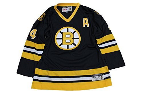 New BOBBY ORR Boston Bruins YOUTH L/XL 1975 SEWN Throwback NHL #4 Hockey CCM Jersey by CCM