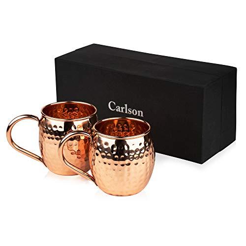 Carlson Moscow Mule Kupfer Becher | 2 Kupfertassen | Gehämmert und handgefertigt | 495ml große Cocktailgläser | Großartig für jedes gekühlte Getränk | Tassen Set | Gin Tonic Gläser -