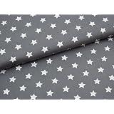0,5m Stoff Sterne groß in mittel-grau/ weiß Motivgröße 2cm Meterware