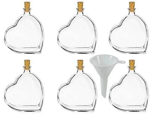 mikken 6 x Glasflasche Herz 100 ml mit Korkverschluss inkl Trichter -