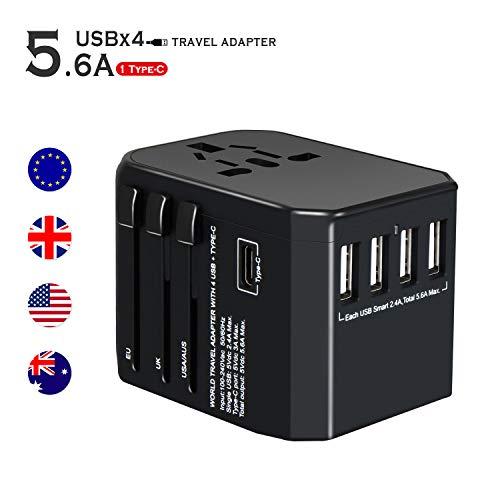 ykooe Adaptador de Viaje Universal Enchufe de Viaje con 4 USB Puertos y Tipo C Cargador Internacional Toma de Corriente de CA - Negro