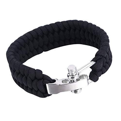 Bracelet de survie, Camping en plein air Survival Bracelet Weave 7-Stand en acier inoxydable Manille Boucle Self-rescue Survie Outils Kits