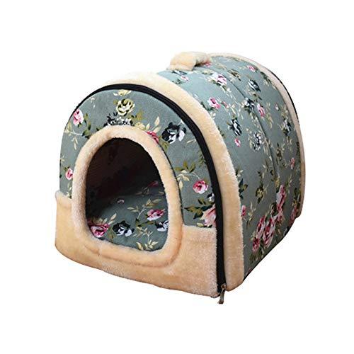 DOGKLDSF Hundebett Kleine Hundebett Haus weiche warme Katze Bett Winter Welpen Bett Kissen Falten tragbare Haustier Nest Bett für Hund Katzen, Blaue Blume, S -