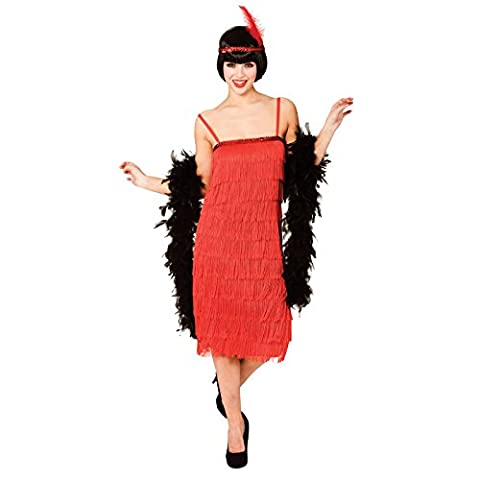 (L) Ladies Jazzy Flapper Costume for 20s 30s Gangsters Molls Fancy Dress Womens