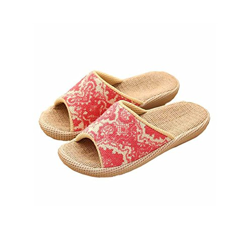 Slip Ons Unisex Borsa, umidità Lino Organico Lino aperto interni ed esterni antiscivolo pantofole suola in gomma Pantofole Stile Etnico Vintage pantofle Red