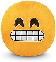Emoji Smiley Emotion Yellow Round Cushion Pillow, Smiling