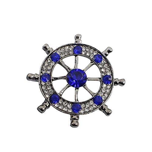 WANGHH Europa Amerika Mode Diamant Ruder Brosche Männer Hemd Anzug Corsage Pin,Blue-M