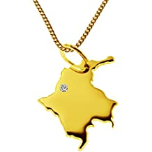 Endroit Exclusif Colombie Carte Pendentif avec brillant à votre Désir (Position au choix.)–avec Chaîne–massif Or jaune de 585or, artisanat Allemande–585de bijoux