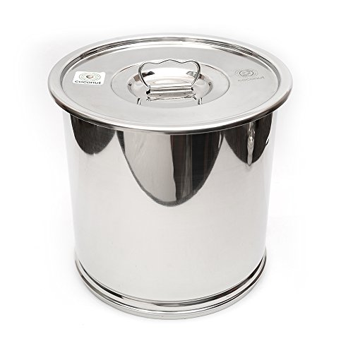 Coconut Stainless Steel Grain Storage Container with Lid, 10 Litres, Silver