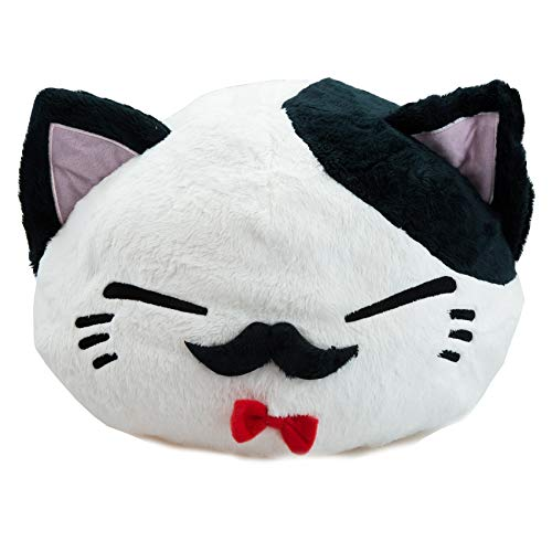 GlamXtensions Nemu Neko Nemuneko Sleepy Cat Plüsch Weiss Schwarz Bart mit Roter Fliege 40 x 30 x 22cm Plüschtier Plüschfigur Plüschi Kuscheltier Katze