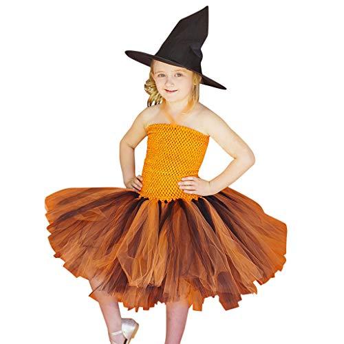 Simayixx Schickes Halloween Hexe Kinderkostüm Karneval Kostüme Karneval Kürbis Hexe Kleid Kürbis Hexe Tutu Kleid Party Cosplay Geeignet für (Hexe Themen Kostüm)