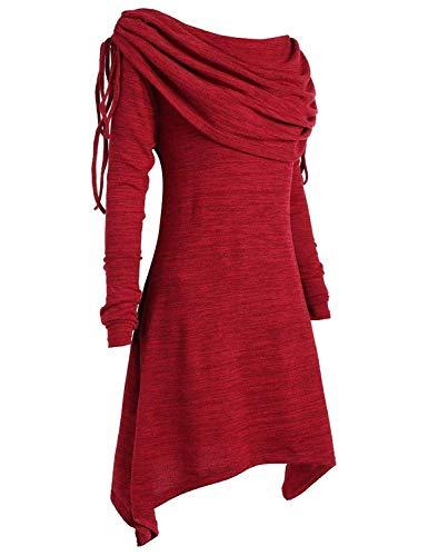 Waltzmart Nlife Frauen Geraffte Wasserfallausschnitt Einstellbare Krawatte Einfarbig Langarm Trim Lässige Lange Sweatshirts