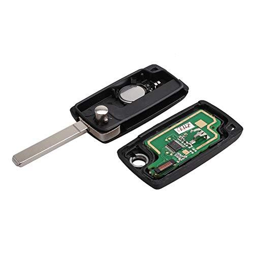 3 Boutons Télécommande Clé Voiture Télécommande Alarme Flip Clé Auto Fob pour PSA Peugeot Citroen Coffre sans Fente Télécommande - Noir