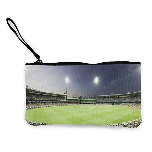 KsimYa Geldbörsen Kosmetiktäschchen,Eco-Friendly Canvas Coin Purse Cricket Ground Light Court Cosmetic Makeup Storage Wallet Clutch Purse Pencil Bag