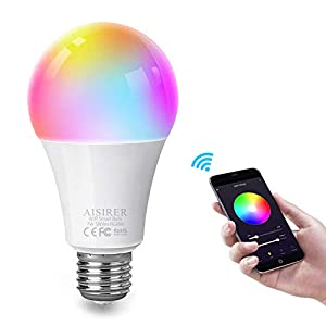 AISIRER Smart Lampe WLAN LED Glühbirnen E27 Birne RGBW Wifi Light Bulb Kompatibel mit Amazon Alexa Echo Google Home Kein Hub Erforderlich Dimmbares Mehreren Farben