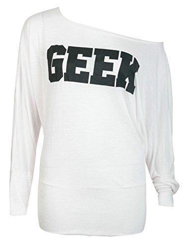 janisramone geek de femmes imprimer batwing haut sleev longue pull taille 8-14 Crème
