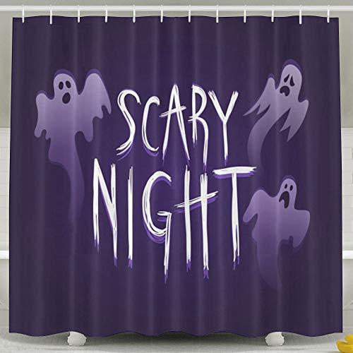 (OKLETY Personalisierte Wasserdichte Badezimmer-Vorhänge – Halloween-Scary-Night Duschvorhang 152,4 x 182,9 cm)