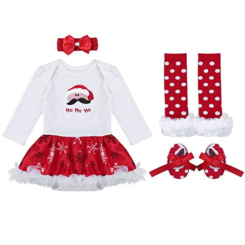 TiaoBug Baby Girls Xmas Party Outfits Santa Claus Tutu Romper Dress with Headband Leg Warmer Shoes Set