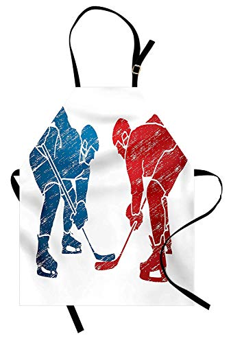 Sport Schürze, Hockey-Spieler Hobby Aktivität Themen Athleten Spiel Sieg Meister Olympia Illustration, Unisex-Küche Latzschürze mit verstellbarem Hals zum Kochen Backen Gartenarbeit, ()